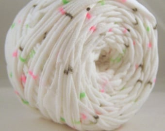 T Shirt Yarn- Neon Confetti 60 Yards Neon Pink, Neon Green, Black Striped Yarn