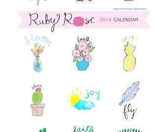 2018 Ruby Rose Calendar