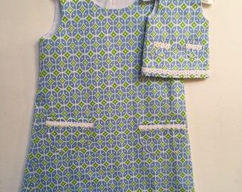 "Girls Dress with Matching 18"" doll dress"