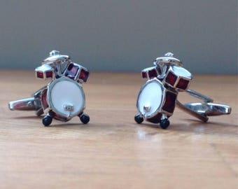 Silver drum set cufflinks