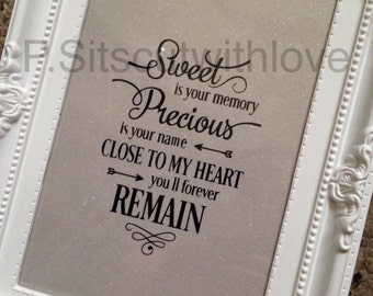 Sweet is your memory, Precious is your name, Quote, Saying, SVG cut file for vinyl