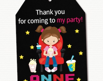 Movie Favor Tag, Movie Thank You Tag, Movie Gift Tag, Movie Thank You Tag, Movie Party, Movie Birthday, Personalized, PRINTABLE