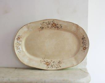 Antique Flower Brown Transfer Ware Platter, Large Ironstone Floral Plate