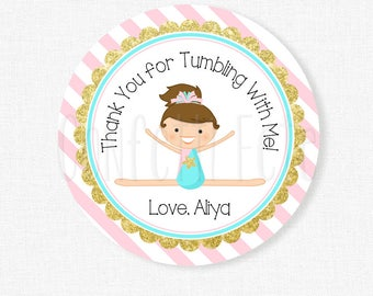 Gymnastics Favor Tags, Gymnastics Birthday Party Favors, Pink and Gold Favor Tags, Personalized