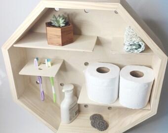 Octagon Wooden Shelf, Octagon Pegboard, Display Shelf, Modular Shelving, Octagon Shaped Pegboard, Shaped Wooden Pegboard, Pegboard Display
