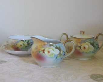 hand painted Mieto China Creamer and sugar and coffee cup and saucer Yellow Rose with Gold trim