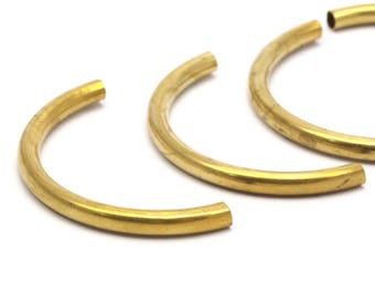 Noodle Curved Tubes - 12 Raw Brass Semi Circle Tubes (3.5x41mm) Bs 1631