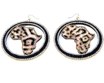 fabric lepoard pint africa shaped earrings