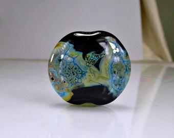 Black Blue Lampwork Focal Bead SRA Glass Beads