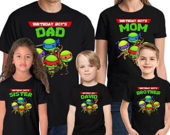 Teenage Mutant Ninja Turtles Birthday Shirt Add Name & Age TMNT Personalized Birthday Party T-Shirt