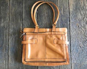 Vintage Brown Leather Handbag - Vintage Brown Leather Top Handle Purse - Vintage Brown Leather Tablet Bag - Tan Leather Bag