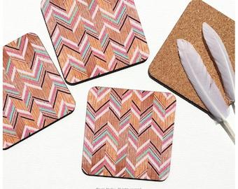 Coaster Set of 4 Faux Wood Print, Chevron Cork Coasters, Geometric Coaster Set, Pattern Coasters I18