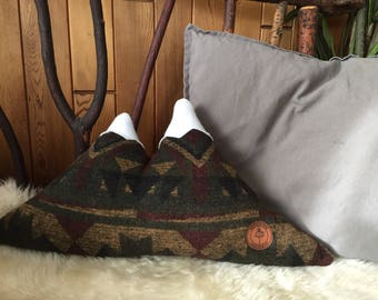 Mountain Pillow - Double Peak - Aztec print green/brown/burgundy - Made to Order