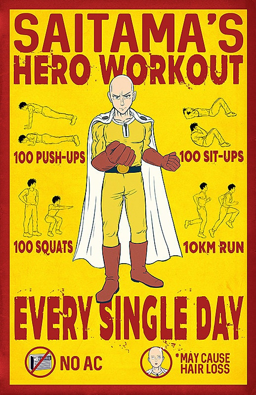 One Punch Man Workout Poster Print