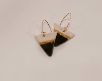 Black & Gold luster Earrings / triangle shaped dangle earring series / Porcelain Earrings / handmade/