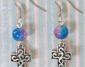 Small cross earrings