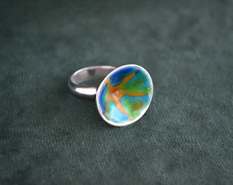 Colorful Silver and Enamel Starfish Ring, Sterling Silver Colorful Ring, Women's Colorful Ring, Artisan Jewelry Designs