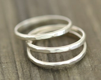 Sterling Silver Stackable Bands, Textured, Eco-Friendly Metal