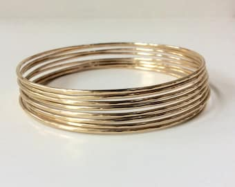 Skinny SOLID Gold Bangle - One (1) 14K Solid Gold Bangle Bracelet - Handcrafted Heirloom Quality - Hallmarked 14K