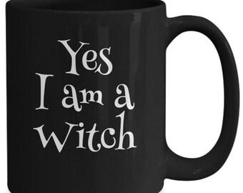 Sci-fi fantasy gift - yes i am a witch fandom coffee black mug tea cup