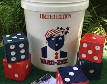 Trump Yard-Zee - Customized YARD-ZEE games - Outdoor  Lawn Games - Lawn Dice - Farkle - Outdoor Recreation - President - Political