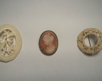 3 Antique Brooches