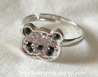 Kawaii adjustable Ring Mini Panda with strass