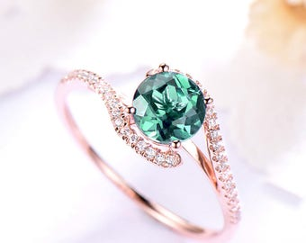 Alexandrite Engagement Ring Sterling Silver Rose Gold Round Cut CZ Cubic Zirconia Diamond Wedding Band Curved Bridal Anniversary Gift Women