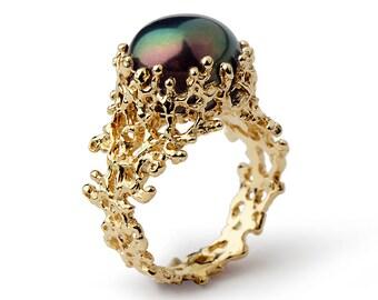 CORAL Black Pearl Ring Band, Black Pearl Engagement Ring,  Unique Pearl Engagement Ring Gold, 14k Gold Pearl Ring, Organic Pearl Ring