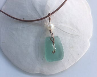 Pearl & Aqua Glass Pendant Necklace