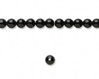 Fabulous Black Onyx Round Beads 4mm 16""