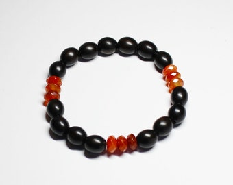 Tiger Ebony Wood and Natural Red Agate Stretched Bracelet