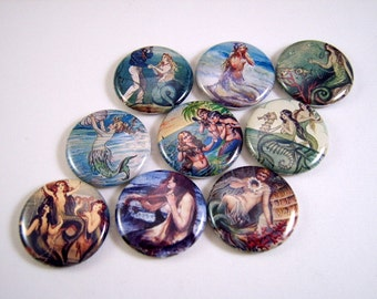 One Inch Mermaid Flatback Buttons, Pins, Magnets 12 Ct.