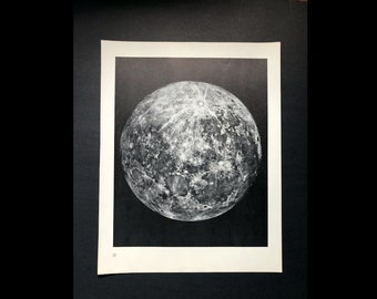 c. 1964 FULL MOON PRINT - original vintage astronomy print - lunar phase print - full moon - lunar landscape - moon craters & moon mare