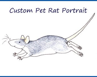 Custom Pet Rat Portrait - A5 A4 sizes - Watercolour Painting - 250gsm Paper - Personalised Painting - Animal Lover - Fancy Rat