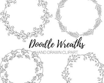 Floral Wreath clip art - Doodle clip art - hand drawn clip art - logo template - Commercial Use.