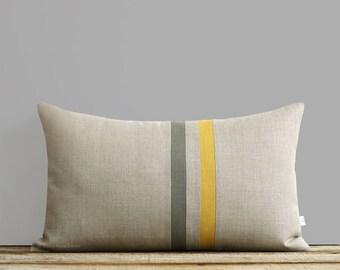 Striped Linen Pillow Cover - Squash and Stone Gray (12x20) Spring Home Decor by JillianReneDecor - Autumn - Yellow and Grey Lumbar Pillows