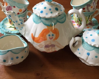 Girls Personalized Mermaid Tea Set //  Mix-N-Match Personalized Little Girl's Child's Sized Tea Set & 4 Tea Cups Handpainted...