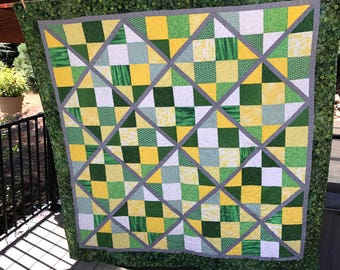 Green and yellow quilt