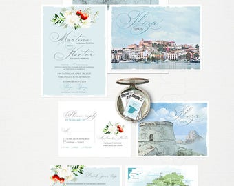 Destination wedding invitation Ibiza Spain illustrated wedding invitation dusty blues greys European island wedding -Deposit Payment