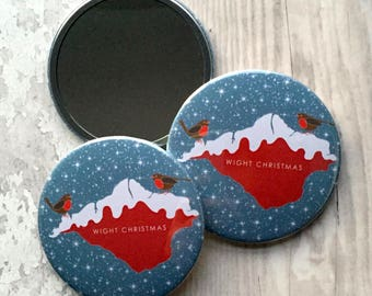 Isle of Wight, pocket mirror, stocking filler, robins, make up mirror, gift for her, makeup mirror, gift for girl