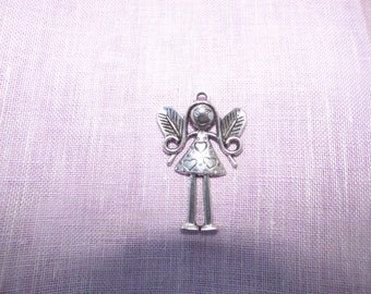 LARGE METAL CHARM SILVER LITTLE GIRL ELF SHAPE