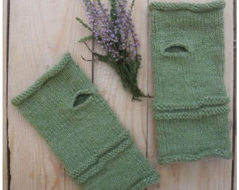 Knitted Fingerless Gloves, Wrist Warmers In Green, Acryl / Wool Yarn, Hand Warmers, Gift for Her