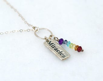 7 Chakra Necklace with Silver MIRACLES Charm | Chakra Stones | Silver Chakra necklace | Yoga Jewelry | Chakra Jewelry | Chakra Crystals