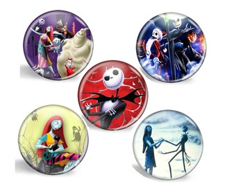 POCKET MIRRORS: Nightmare Before Christmas , Jack Skellington and Sally, Party Favor, Small Gift