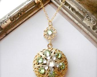 Gold Locket Necklace, Filigree Locket Necklace, Vintage Style Locket, Photo Locket, Swarovski Crystal, 18K Gold Filled Chain, Gift for Her