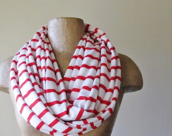 PEPPERMINT Scarf, Red and White Infinity Scarf, Nautical Striped Circle Scarf, Peppermint Loop Scarf, Lightweight Jersey Scarf