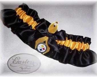 Pittsburgh Steelers Wedding Garter   Handmade  Keepsake  Satin BG
