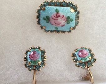 Vintage Guilloche Enameled Screw back Earrings and Brooch claw setting