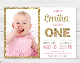 First Birthday Invitation Girl, Pink And Gold Birthday Invitation, Photo Invitation, Glitter, First Birthday, Any Age, Printable